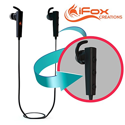 iFox iFE6 Wireless Bluetooth Headphones Sports Earphones - Built-in Mic and Volume Control for iPhone, iPad, iPod, Android Phones, Tablets, Computers, MP3 Players - Sweatproof In-Ear Headset Earbuds