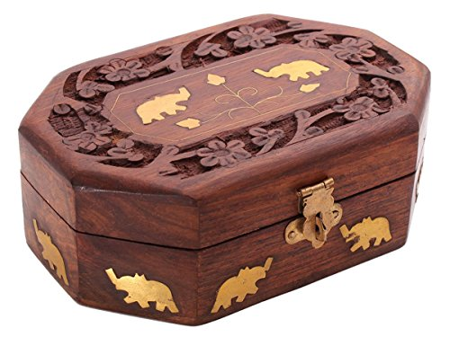Handcrafted Wooden Jewelry Box Keepsake Storage Organizer, Elephant Brass Inlay
