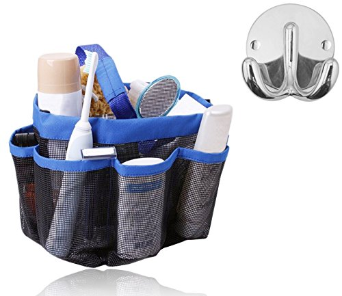 IPOW 8 Pockets Shower Caddy for Bathroom Accessories & Mirror Bundle with Double Robe & Towel Hook in Bright Chrome