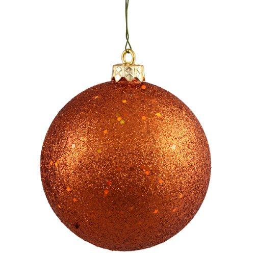 Burnt Orange Holographic Glitter Shatterproof Christmas Ball Ornament 4 (100mm)