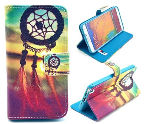 Welity Retro Dream Catcher PU Leather Wallet Type Magnet Design Flip Case Cover Credit Card Holder Pouch Case for Samsung GALAXY Note 3 N9000 and one gifts