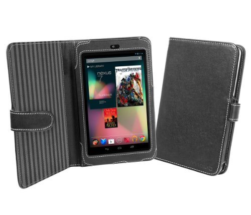 Cover-Up Google Nexus 7 Tablet Book Style Nappa Leather Case - Black