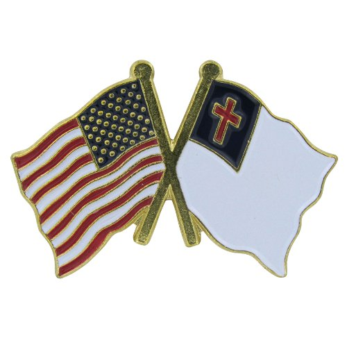 US Flag Store Lapel Pin USA and Christian Flag