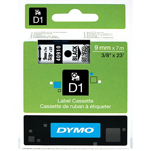 DYMO Standard D1 Self-Adhesive Polyester Tape for Label Makers, 3/8-inch, Black Print on Clear, 23-foot Cartridge (40910)