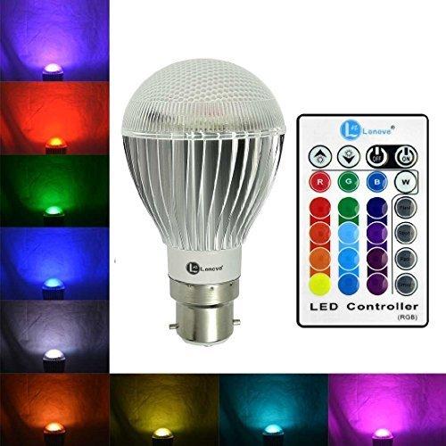 LONOVE Multi-color RGB LED Bulb Light 10W B22 AC85-265V IR Wireless Remote Control