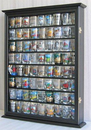 Large 72 Shot Glass / Shooter Display Case Cabinet Rack Holder-Glass Door, Mirror Back-Black Finish (SC13-BL)