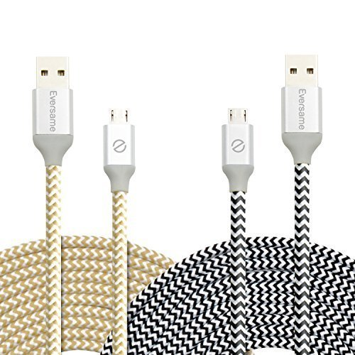 Micro USB Charging Cord, Eversame 2Pcs 10Ft 3M Nylon Braided High Speed USB 2.0 A Male to Micro B Sync Charger Cable with Aluminum Shell For Samsung Galaxy S6/Note5, HTC, LG, and more