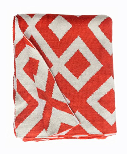 Fab Habitat Marina Knit Throw, Carrot and White