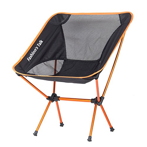 Fashion's Talk®Folding Portable Ultralight Outdoor Camping Chair with Carrying Bag for Picnic,Camping, Hiking, Travel, Hunting, Fishing,Ground,Camp(Orange)