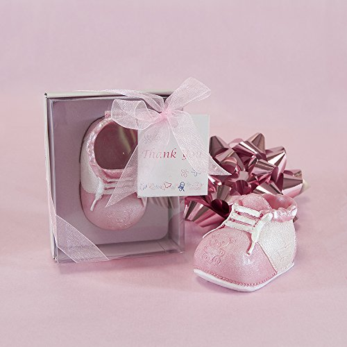 Lunaura Baby Keepsake - Set of 12 Girl Baby Shoe With Thank You Card Favors - Pink