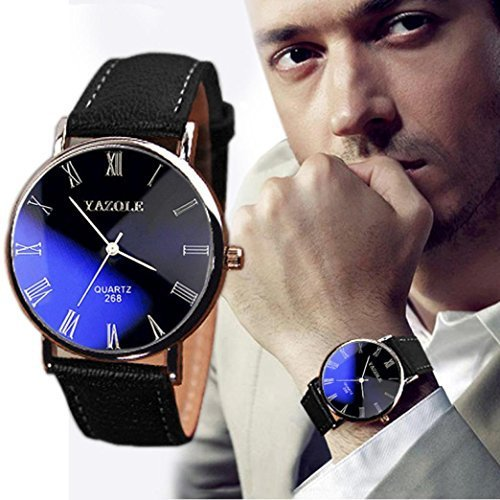 DZT1968(TM) Luxury Leather Mens Quartz Analog Watch Watches Good Gift for you