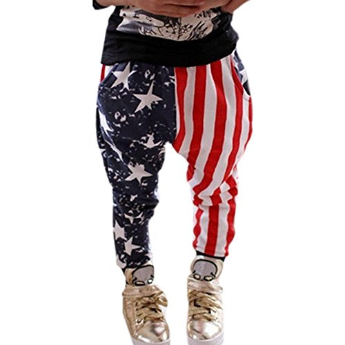 PanDaDa Baby Boys Harem Pants Stars Striped Fashion Flags Trousers Bottoms