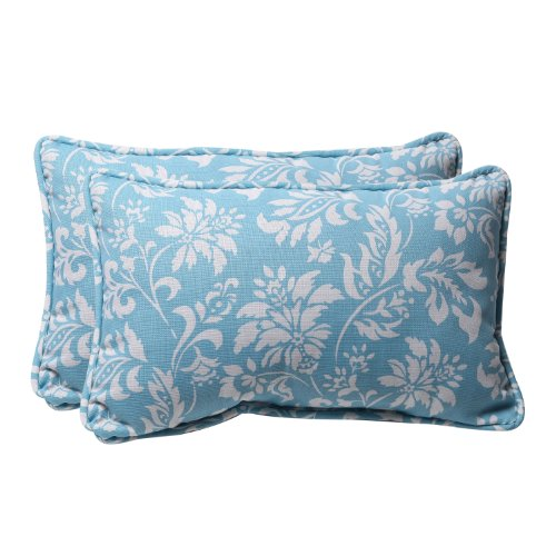 Pillow Perfect Decorative Blue/White Floral Rectangle Toss Pillows, 2-Pack