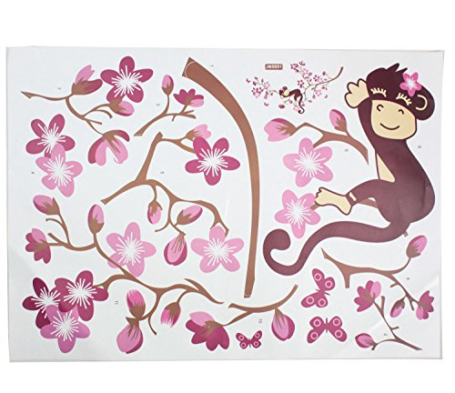 niceeshop(TM) Monkey Sleeping Wall Decor Sticker Wall Decal