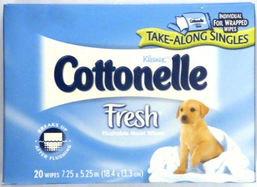 Cottonelle Fresh Flushable Moist Individual Foil Wrapped Wipes 20 Ct Box (Pack of 6) 120 Wipes Total