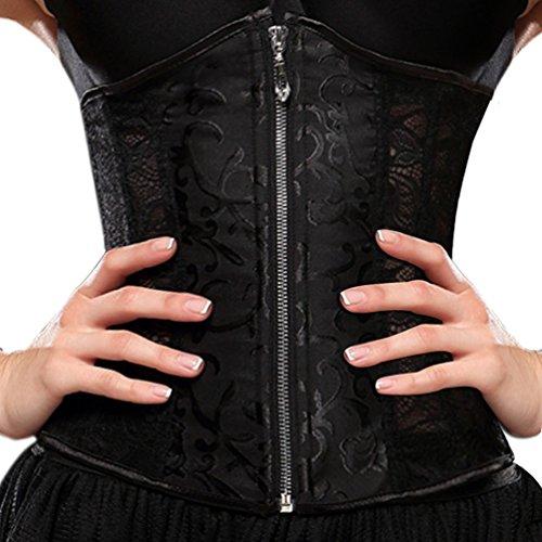 Everbellus Womens Breathable Zipper Waist Shaper Strapless Bridal Fashion Corset Black 3XL