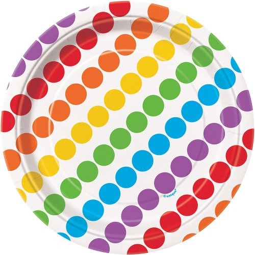 Rainbow Party Dessert Plates, 8ct