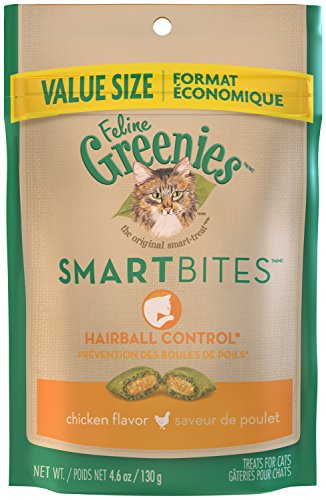FELINE GREENIES SMARTBITES Hairball Control Chicken Flavor Cat Treats 4.6 Ounces (Pack of 10)