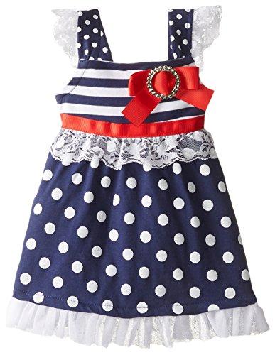 Little Lass Baby-Girls Newborn Americana Stripe Dot Knit Dress, Navy, 6-9 Months