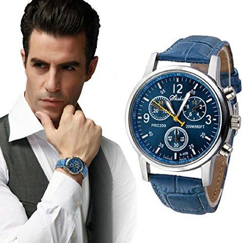Sandistore Luxury Mens Crocodile Faux Leather Analog Watch Blue