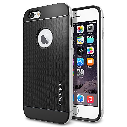 iPhone 6 Case, Spigen® [Neo Hybrid EX Metal] ALUMINUM BUMPER [Satin Silver] Dual Layer Slim Dia-Cut Aluminum Bumper Case for iPhone 6 (2014)  - Satin Silver (SGP11037)