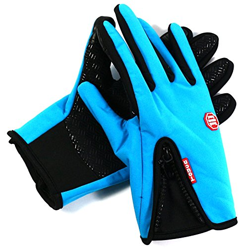Sminiker Touchscreen Gloves for Smart Phone & Outdoor Windproof Cycling Glove & All Weather Polartec Cold Weather Winter Glove for Men and Women (BLUE)