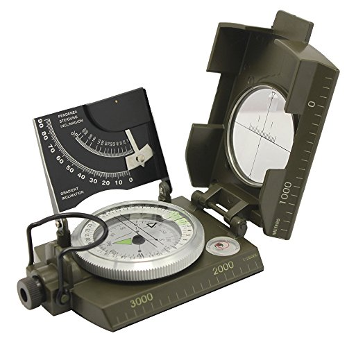 Professional Multifunction Military Army Metal Sighting Compass w/Inclinometer Camping and Hiking Waterproof Compass Green Color