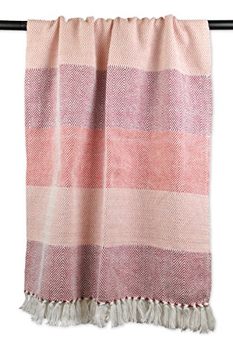 DII 100% Cotton Chevron Herringbone Throw for Indoor/Outdoor Use, Great Blanket For A Couch Throw, Picnics, Camping, BBQ's, Beaches, & Everyday Use - 50 x 60, Wine