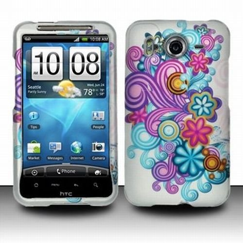 HTC Inspire 4G Accessory - Colorful Blossoming Spring Flower Protective Hard Rubberized Case Cover Design for AT&T