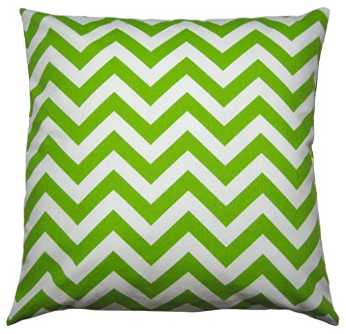 JinStyles® Cotton Canvas Chevron Striped Accent Decorative Throw Pillow Cover (Green & White, Square, 1 Cushion Sham for 18 x 18 Inserts)