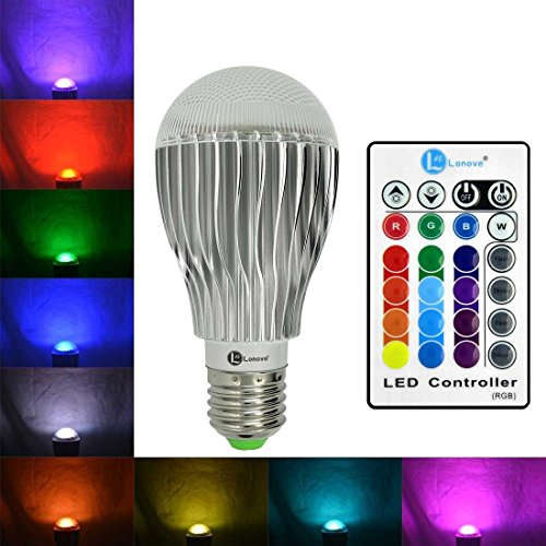 LONOVE 16 Colors Changing Dimmable Lamp RGB 10W E27/E26 LED Domineering Global Light Bulb Wireless Remote Control