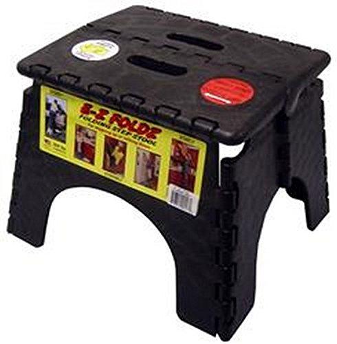 RV Trailer B&R PLASTICS E-Z Foldz Step Stool Black Step Stool