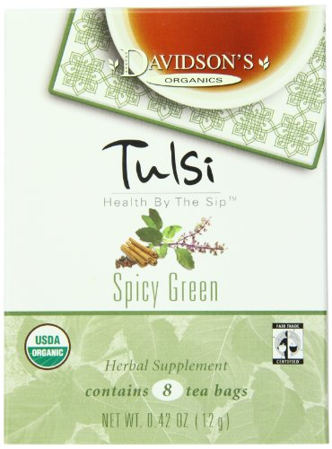 Davidson's Tea Tulsi Spicy Green, 8-Count Tea Bags (Pack of 12)