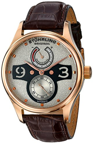 Stuhrling Original Khepri Men's Automatic Watch with Grey Dial Analogue Display and Brown Leather Strap 712.04