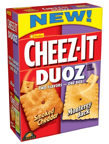 Cheez-It Duoz Baked Snack Crackers, Smoked Cheddar/Monterey Jack, 13.7-Ounce Boxes (Pack of 4)