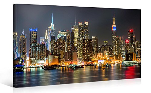 Large Canvas Print Wall Art - MANHATTAN NIGHT LIGHTS - New York Cityscape Canvas Picture Stretched On A Wooden Frame - Giclee Canvas Printing - Hanging Wall Deco Picture / s4348