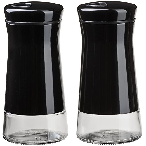 CHEFVANTAGE Salt and Pepper Shakers Set with Adjustable Holes - Black