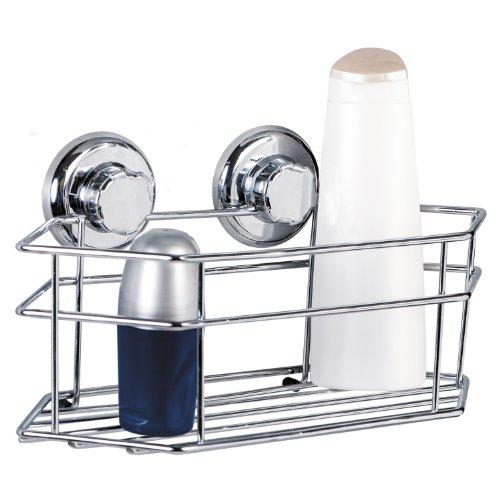 Tatkraft Megalock Bathroom Caddy Shower Caddy Suction Cups Chrome Plated Steel 30.5X15.5X15.5cm