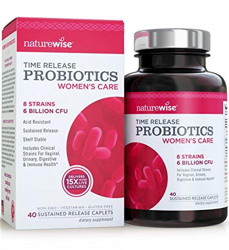NatureWise Women's Care Probiotics: 8 Strains, 6 Billion CFU with Cranberry & D-Mannose, Comparable to 90 Billion CFU with WiseBiotics Technology, Shelf Stable, Acid Resistant, 40 Caplets