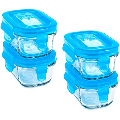 Wean Green Wean Tubs Glass Food Containers, Blueberry, 4 Pack