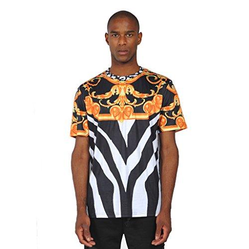 Pizoff Unisex Luxury Pompous Hipster Religious Baroque Oversized T-Shirt Y0178-Black-XL