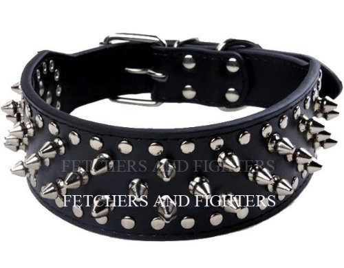 OrangeTag 17-20 Black Faux Leather Spiked Studded Dog Collar 2 Wide, 31 Sp...