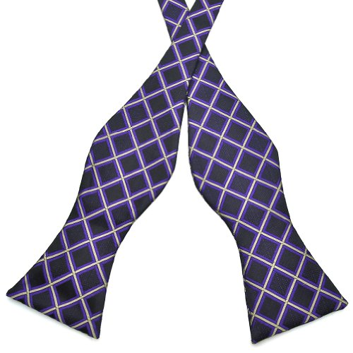 PenSee Mens Self Bow Tie Black & Purple & Grey Plaids Jacquard Woven Silk Bow Ties