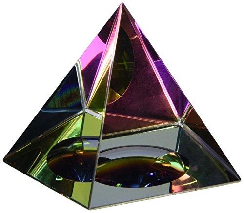 Amlong Crystal® Iridescent Pyramid - Rainbow Colors 4.5 Tall With Gift Box