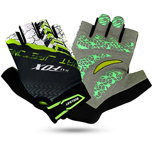 Dreampark Half Finger Cycling Gloves Shock-Absorbing Gel Pad Breathable Mountain Bicycle Bike Road Racing Men's/Women's Gloves (Green, Large)