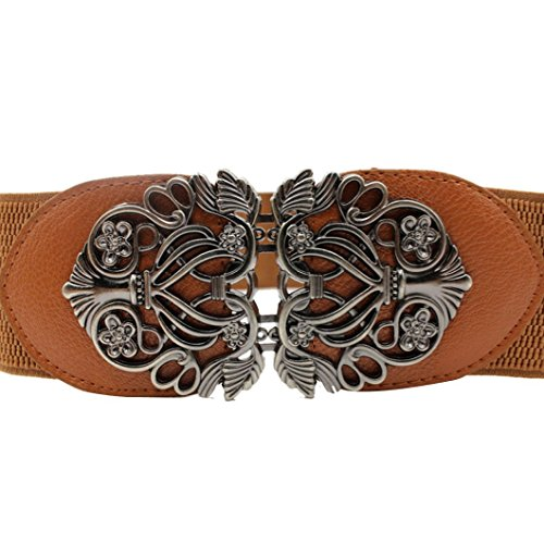 DZT1968(TM)Women Vintage Wide Belt With Alloy Flower