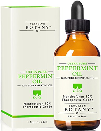 Ultra Pure Peppermint Essential Oil 10% Menthofuran - Brooklyn Botany - 100% Pure, 1 fl oz - Great for Aromatherapy, and Mice & Spider Repellent