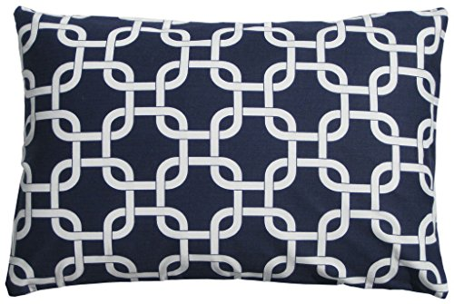 JinStyles® Cotton Canvas Trellis Chain Accent Decorative Throw Lumbar Pillow Cover (Navy Blue & White, 1 Cushion Sham for 12 x 18 Inserts)