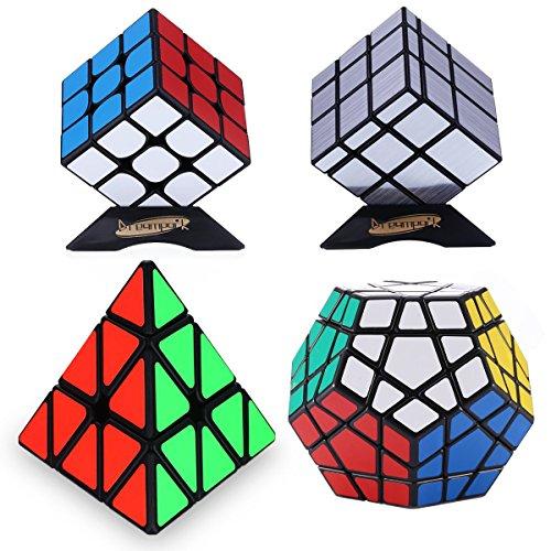 Dreampark 4-Pack Populer Magic Cube Puzzle - Includes 3x3 Speed Cube, Pyraminx Speedcubing Puzzle, Megaminx Cube and Mirror Cube