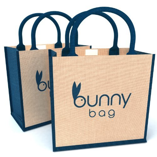 HIGH QUALITY Jute Tote Bags [2 Pack] - 100% Natural Hessian & Reusable Burlap Totes - Ideal Grocery Store, Beach, Retail Shopping, Work, School Bag / Mesh Totes With Top Rope Handles - Easter Bunny Bag For Women, Girls, Teens & Kids - Eco-Friendly & Recyclable [Foldable Set of 2]